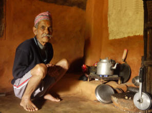 Cooking over a biogas stove in Nepal